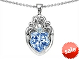 Original Star K™ Loving Mother Twins Family Pendant With 8mm Heart Shape Simulated Aquamarine