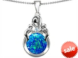 Original Star K™ Large Loving Mother With Children Pendant With Round Blue Simulated Opal style: 305481