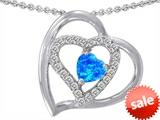 Original Star K™ Heart Shape Simulated Blue Opal Pendant style: 305482