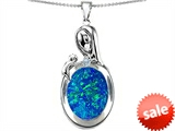 Original Star K™ Loving Mother With Child Family Pendant With Oval Created Blue Opal style: 305483