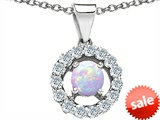 Original Star K™ Round Created Opal Pendant style: 305485