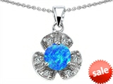 Original Star K™ Flower Pendant With Round 6mm Created Blue Opal style: 305486