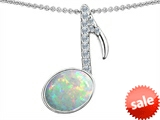 Original Star K™ Musical Note Pendant With Created Opal Oval 11x9