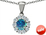 Original Star K™ Round 6mm Created Blue Opal Pendant style: 305491