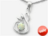 Original Star K™ Round Created Opal Swan Pendant style: 305492