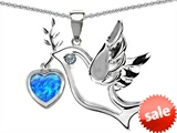 Original Star K™ Peace Love Dove Pendant with 7mm Heart Shape Created Blue Opal