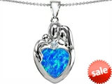 Original Star K™ Large Loving Mother Father With Child Family Pendant With 12mm Heart Created Blue Opal style: 305494