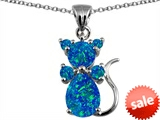 Original Star K™ Cat Pendant With Created Blue Opal style: 305495