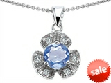 Original Star K™ Flower Pendant With Round 6mm Simulated Aquamarine style: 305496