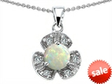 Original Star K™ Flower Pendant With Round 6mm Created Opal style: 305498