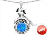 Original Star K™ Dog Lover Pendant with October Birth Month Blue Simulated Opal style: 305501