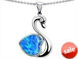 Original Star K™ Love Swan Pendant With Heart Shape 8mm Created Blue Opal style: 305503