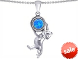 Original Star K™ Cat Lover Pendant with October Birth Month Simulated Blue Opal style: 305504