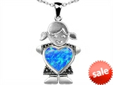 Original Star K™ Little Girl Holding 8mm Heart Mother Birthstone Pendant Created Blue Opal