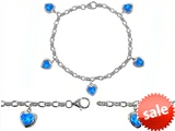 Original Star K™ High End Tennis Charm Bracelet With 5pcs 7mm Created Heart Blue Opal