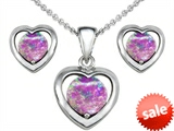 Original Star K™ Created Pink Opal Heart Pendant with Box Set matching earrings