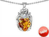 Original Star K™ Loving Mother And Hugging Family Pendant With Heart Shape 8mm Genuine Citrine style: 305511