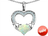 Celtic Love by Kelly Hands Holding 8mm Heart Claddagh Pendant With Created Opal