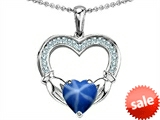 Celtic Love by Kelly Hands Holding 8mm Heart Claddagh Pendant With Created Star Sapphire