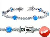 Original Star K™ High End Tennis Bracelet With 6pcs Round 6mm Created Blue Opal style: 305518