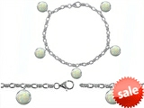 Original Star K™ High End Tennis Charm Bracelet With 5pcs 7mm Round Simulated Opal style: 305520