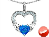 Celtic Love by Kelly Hands Holding 8mm Heart Claddagh Pendant With Created Blue Opal