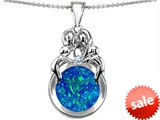 Original Star K™ Large Loving Mother And Family Pendant With Round 10mm Simulated Blue Opal style: 305523
