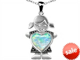Original Star K™ Little Girl Holding 8mm Heart Mother Birthstone Pendant Created Opal