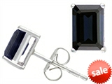 Tommaso Design™ Emerald Cut 8x6mm Genuine Black Sapphire Earring Studs