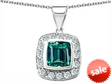 Original Star K™ Square Cushion Cut Simulated Emerald Pendant style: 305532