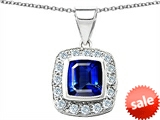Original Star K™ Square Cushion Cut Created Sapphire Pendant