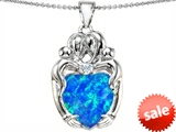 Original Star K™ Large Loving Mother Twins Family Pendant With 12mm Heart Shape Simulated Blue Opal