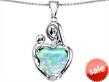 Original Star K™ Large Loving Mother With Child Pendant With 12mm Heart Shape Created Opal