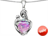 Original Star K™ Large Loving Mother With Child Pendant With 12mm Heart Shape Created Pink Opal style: 305543