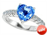 Original Star K™ 8mm Heart Shape Genuine Blue Topaz Engagement Ring