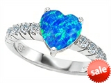 Original Star K™ 8mm Heart Shape Simulated Blue Opal Engagement Ring style: 305560