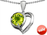 Original Star K™ Heart Shape Pendant With Round Genuine Peridot