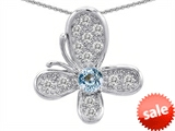 Original Star K™ Butterfly With Simulated Aquamarine Pendant style: 305570