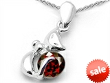 Original Star K™ Round Genuine Garnet Cat Pendant style: 305571