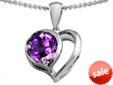 Original Star K™ Heart Shape Pendant With Round Genuine Amethyst