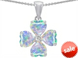 Celtic Love by Kelly 6mm Heart Shape Created Opal Lucky Clover Pendant