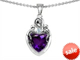 Original Star K™ Loving Mother With Children Pendant With  Heart Shape Genuine Amethyst style: 305574