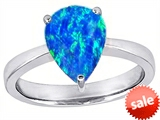 Original Star K™ Large Pear Shape Solitaire Engagement Ring with Created Blue Opal