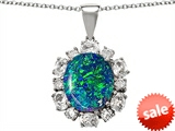 Original Star K™ Created Blue Opal Oval Pendant style: 305580