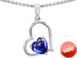 Original Star K™ 7mm Heart Shape Created Blue Sapphire Pendant