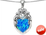Original Star K™ Large Loving Mother Twins Family Pendant With 12mm Heart Shape Created Blue Opal