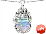 Original Star K™ Large Loving Mother Twins Family Pendant With 12mm Heart Shape Simulated Opal