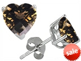 Original Star K™ 7mm Heart Shape Genuine Smoky Quartz Earring Studs