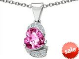 Original Star K™ Heart Shape 8mm Created Pink Sapphire Pendant style: 305587