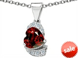 Original Star K™ Heart Shape 8mm Genuine Garnet Pendant